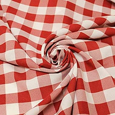 """AK TRADING CO. 60"""" Wide Checkered Gingham Buffalo Check Polyester Poplin Fabric-Red & White-1 Yard"""