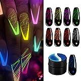 Jannyshop 9 Colores Esmalte de Uñas en Gel de Dibujo Gel de Uñas de Araña Luminosa para Línea,...