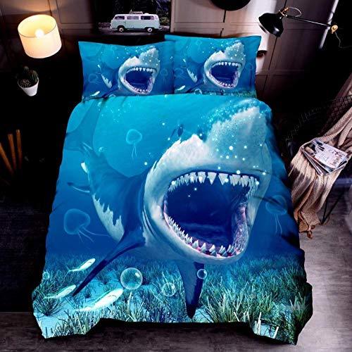 Juego De Ropa De Cama Tiburón océano Azul Funda De Edredón 200 x 200 cm,Microfibra Funda nórdica Muy Suave Hipoalergénica Transpirabl,para niños y Adolescentes niños y niñas