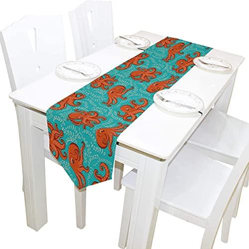 MODORSAN 13x70 Zoll Langer Tischläufer Fun Ocean Octopus Dekorative Polyester Tischläufer Tischdecke für Zuhause Kaffee Küche Esstisch Party Bankett Urlaub Dekoration