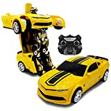 Kids RC Toy Car Transforming Robot One Button Transformation Engine Sound Dance Mode 360 Spinning Speed Drifting 2 Band 2.4 GHz Remote Control RC Vehicle Toys for Boys Yellow Sports Car