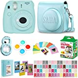 Fujifilm Instax Mini 9 - Ice Blue Instant Camera + Film 20 Shots + Personalized Debossed Case + Magnetic Acrylic Frame + Filter Set & Selfie Lens 90 PC Design Kit (Ice Blue)