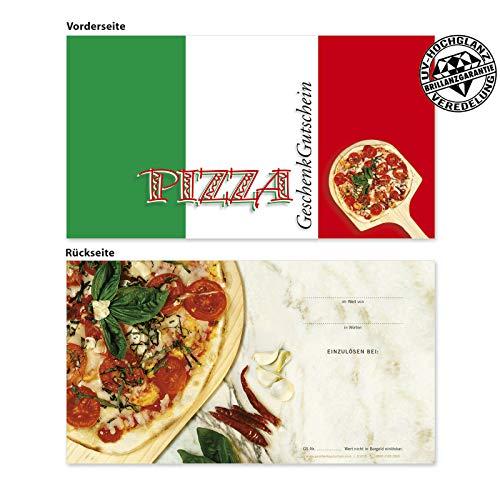 100 hochwertige Gutscheinkarten Geschenkgutscheine. Vorderseite hochglänzend. Gutscheine für Italienisches Restaurant Pizzeria Pizza. G1215