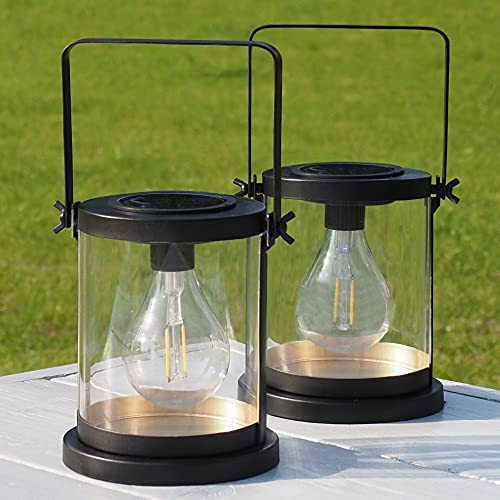 Gadgy Solar Laterne Outdoor | 2 Stück | Garten Und Balkondekorationen | LED Laternen Für Draußen | Schwarz und Gold | Tischleuchte für Aussen