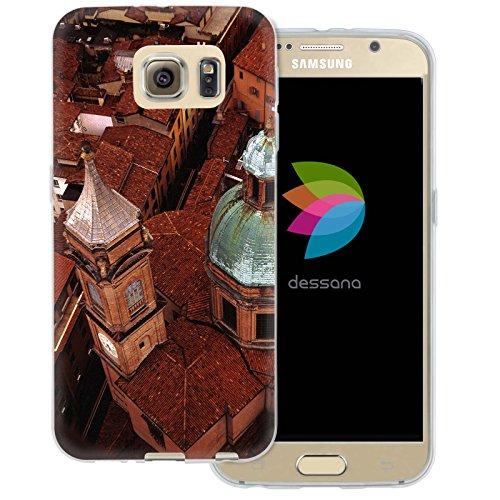 dessana Italia Sightseeing - Cover protettiva in silicone TPU trasparente 0,7 mm sottile per Samsung Galaxy S6 Bologna
