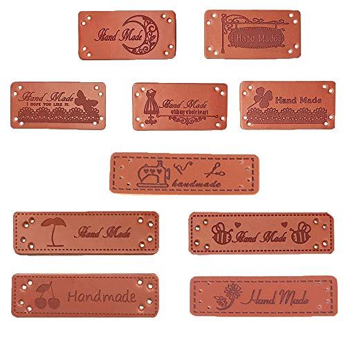 jenich 100Pcs PU Handmade Labels Handmade Etiketten Aufnäher PU Label Leder Etiketten Handmade with Love Handmade Handarbeit Etiketten Tags zum nähen für DIY Klediung Näharbeit