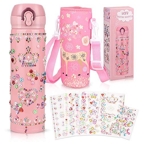 Yojoloin Wasserflasche Trinkflasche Edelstahl BPA Frei für Kinder Auslaufsicher Geschenke Geburtstagsgeschenk für Mädchen 500ml mit DIY Glitzernden Strass-Edelsteinaufklebern