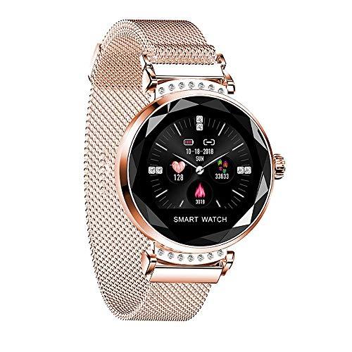 Mygsn Watch Fitness Tracker, Smart Armband Herzfrequenzerkennung IP67 wasserdichte weibliche physiologische Erinnerung Magnetband Ultra-Thin Smart Armband Watch (Farbe : Gold)