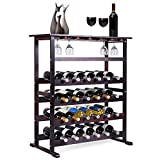 COSTWAY Traditional Wine Rack, Free Standing Wine Display Stand Shelf for Holder 24 Bottle and 18 Glasses, Home Kitchen Bar Pantry Drink Storage Organiser Unit