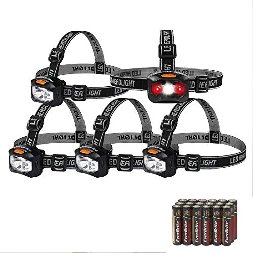EverBrite 5-pack Headlamp LED 150 Lumens Battery Operated Super Bright with 2 Red Lights AAA Batteries Included