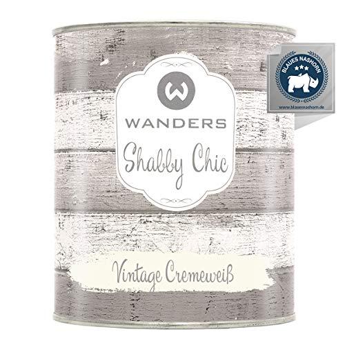 Wanders24® Kreidefarbe (750 ml, Vintage Cremeweiß) Holzfarbe für Shabby Chic Look - Möbelfarbe einfach zu verarbeiten - Möbellack auf Wasserbasis - Made in Germany