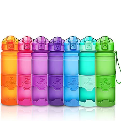 ZOUNICH Trinkflasche Sport BPA frei Kunststoff Sporttrinkflaschen für Kinder Schule, Joggen, Fahrrad, öffnen mit Einer Hand Trinkflaschen Filter, Grün, 17oz/500ml