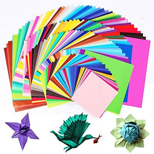 Origami Paper, BCMRUN 200 hojas de papel de Origami de doble cara en 50 colores vívidos surtidos 4 tamaños Crafts de papel de DIY Craft para arte y artesanía Proyecto