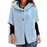 KCatsy Sweat Femme Plus Size Pull Cardigan Gilet Pull À Capuche Grandes Tailles Blouson Chunky Tricoté Uni Manche Boutons Tricot(Bleu,S(FR 36))