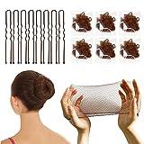 Juego de redes de pelo invisibles y horquillas en forma de U/set de moldeador de moño con 50 redes de malla de borde elástico y 50 pasadores de pelo en forma de U para mujeres (marrón)