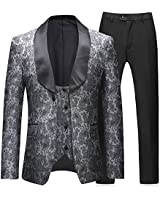 Boyland Mens 3 Pieces Tuxedos Vintage Groomsmen Wedding Suit Complete Outfits(Jackets+Vest+Trousers) Prom Formal Tuxedo Suits (Grey, Small)