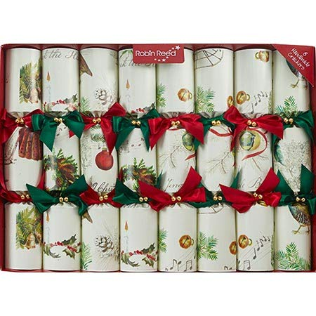 Robin Reed Sleigh Bells Christmas Crackers - Set of 8 Music Favors containing Metal Hand Bells and Sheet Music for Playing Your own Holiday Music