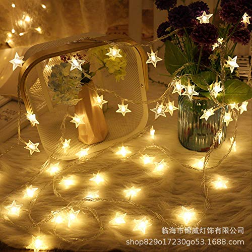 CFLFDC Cadena de luz Luz De Estrella Led Luz Pequeña Luz De Color Luz De Luz De Luz Bombilla De Vacaciones Bombilla (Estrellas) blanco cálido 5 m 50 lámpara plug-in con enchufe de cola