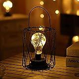 Lámpara de Mesa de Metal,SUAVER Decoration Bombilla Lampara Escritorio,Luz creativa de la noche,Lámparas de mesa Vintage,Bombilla LED decorativa para dormitorio,Bateria cargada (Lantern)
