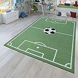 TT Home Kinder-Teppich, Spiel-Teppich Für Kinderzimmer Mit Fußball-Design, In Grün, Größe:140x200 cm