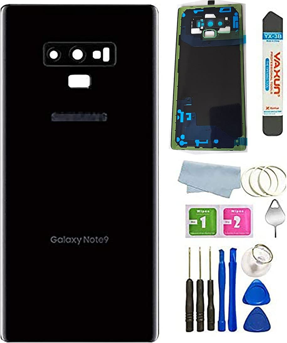 N&A Galaxy Note 9 Back Glass Cover Housing Door with Camera Frame Lens andSticker Pre-Installed Tape Replacement for Samsung Galaxy Note 9 N960U All Carriers +Tools (Black)