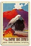 Pacifica Island Art El Nuevo Empire State Express - Río Hudson - Sistema Central de Nueva York - Póster Viaje Ferrocarril de Leslie Darrell Ragan c.1941 - Letrero de Madera 20x30cm