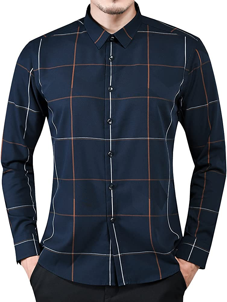 Womleys Mens Long Sleeve Casual Slim Fit Plaid Button Down Dress Shirts