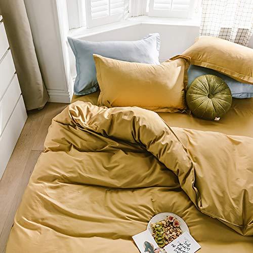 Omela Bettwäsche 135x200 Gelb Uni Einfarbig Kuschelig Weich Microfaser Bettwäsche Set mit Reißverschluss 2 teilig - 135 x 200 cm Bettbezug + 80 x 80 cm Kissenbezug