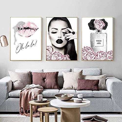 Henypt Parfüm Lippen Poster Mode Leinwand Malerei Blume Kunstdruck Make-up Malerei Moderne weibliche Wohnzimmer dekorative painting-60 * 80 * 3 kein Rahmen