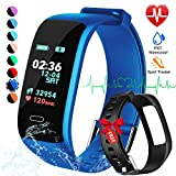 Fitness Tracker, Color Screen Activity Tracker Watch with Blood Pressure Blood Oxygen, IP67 Waterproof Smart Band with Heart Rate Sleep Monitor Calorie Counter Pedometer for Men, Women (Black&Blue)