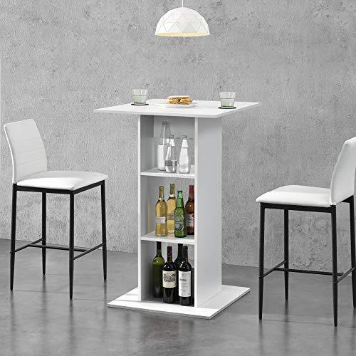 [en.casa] Mesa de Bar Mesa Bistro Elegante 70 x 70 x 110 cm Mesa Alta Cocina Barra integrada para Bebidas con 3 Estantes Blanco