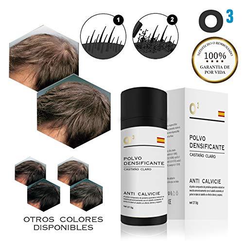 O³ Fibras Capilares Castaño Claro 27,5 G Neto - Keratin Fibers Castaño Claro 100% Natural Para Disimular Calvicie y Aumentar el Volumen | Maquillaje Capilar Para Hombres y Mujeres