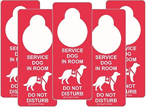 """""""Service Dog in Room - Do Not Disturb"""" Premium Quality Vinyl Plastic Double-Sided Door Hanger Signs - Also May Be Used in Conjunction with Emotional Support Dogs"""