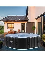 Arebos Whirlpool CORFU met LED-verlichting   6 kleuren   opblaasbaar   vierkant   binnen en buiten   4 personen   100 massagejets   met verwarming   600 l liter   incl. afdekking   Bubble Spa & Wellness Massage