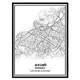Malmö Schweden Karte Wandkunst Leinwand drucken Poster