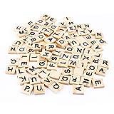 Pssopp 100 Piezas de Azulejos de Letras de Madera Azulejos de Madera, Letras con Juegos completos para Manualidades, Azulejos de Letras, Juegos de Palabras