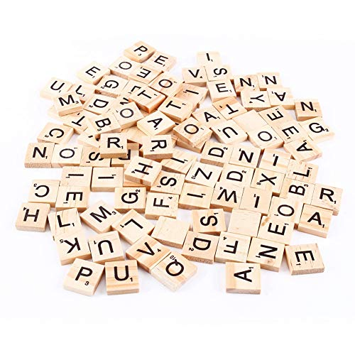 100 Piezas de Letras de Madera para Manualidades - DIY Madera Regalo decoración Alfabeto Piezas de Madera Scra-bble números Colgantes ortografía