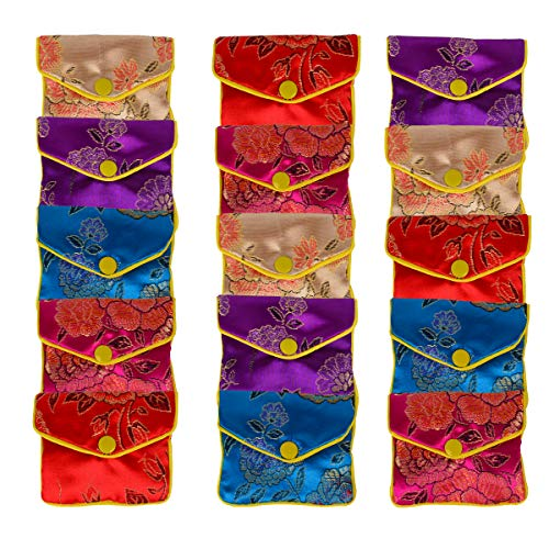 Bleiou 15 Pcs Jewelry Silk Purse Pouch Brocade Gift Bags Mix Colors(Small)