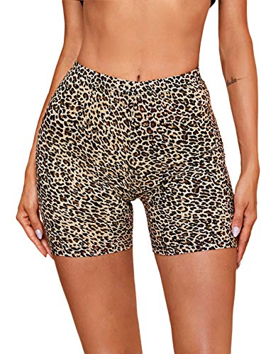 SheIn Women's Solid Skinny High Waist Workout Yoga Running Sports Biker Shorts Leopard X-Small Multicoloured#