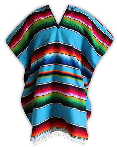 Del Mex (TM Mexican Serape Poncho Adult Costume (Turquoise)