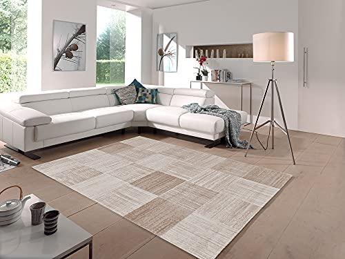 the carpet Grace - Tappeto da salotto elegante e dal design moderno, a pelo corto, morbido e di alta qualità, facile da pulire, elegante, a quadri, beige, 120 x 170 cm