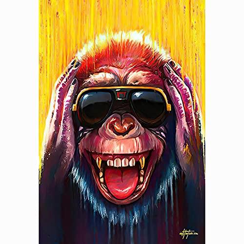 HHGGF Schwarz Gold Brille Weise Affen Graffiti Kunst Poster und Drucke Leinwand Malerei Bar Billard Zimmerdekoration Wandbilder (19.69x27.56 in) 50x70 cm Rahmenlos