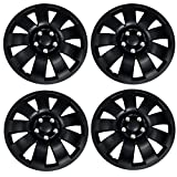 Tuningpros WC3-17-721-B - Pack of 4 Hubcaps - 17-Inches Style Snap-On (Pop-On) Type Matte Black Wheel Covers Hub-caps (Not Fit on Bolt on Type)