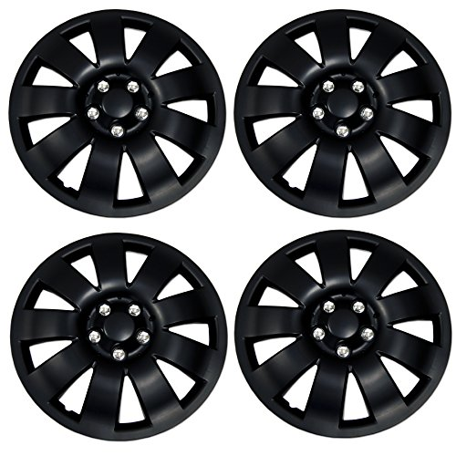 TuningPros WSC3-721B14 4pcs Set Snap-On Type (Pop-On) 14-Inches Matte Black Hubcaps Wheel Cover