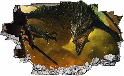 DesFoli Drache Dragon 3D Look Wandtattoo 70 x 115 cm Wanddurchbruch Wandbild Sticker Aufkleber C609