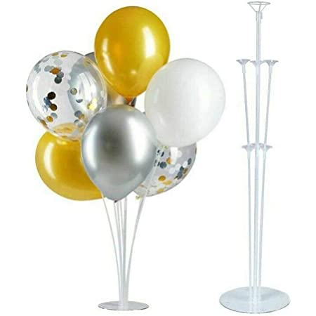 Balloon Stand - Set of Table Desktop Balloon Holder with 7 Balloons Sticks, 7 Balloon Cups and 1 Balloon Base for Birthday Wedding Party Holidays Anniversary Decorations