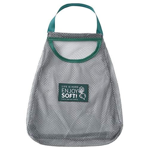S-Wang, 1 set da appendere in rete per uso domestico, riutilizzabile, borsa per alimenti, verdure, frutta, aglio, patate, cipolle, colore grigio