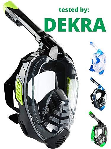 Khroom® CO2 sichere Schnorchelmaske Vollmaske 2019 | bekannt aus YouTube | Seaview X - Tauchermaske für Erwachsene und Kinder. (Schwarz, L/XL)