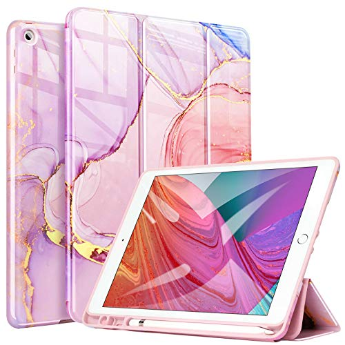 ZtotopCase Case for ipad 10.2 inch 8th Generation/iPad 7th Generation,with Pencil Holder,with Marble Pattern Tri-fold Case for ipad 10.2 2020/2019,Auto Wake/Sleep,Marble Pink