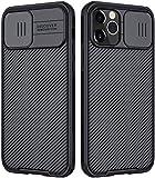 RosyHeart Funda Compatible con iPhone 12/ iPhone 12 Pro (6.1'), Protección de Cámara Carcasa Compatible con iPhone 12, Cubierta Deslizante para Cámara Delgado Ligera Rígida PC Anti-Golpes Caso-Negro